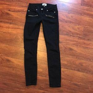 Paige Size 25 Black Skinny Indio Zip Pocket  Jeans